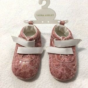 Laura Ashley Pink Gold Baby Infant Soft Sole Shoes